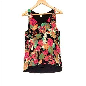 Dalia Collection Colorful Floral Dressy Tank Top-M
